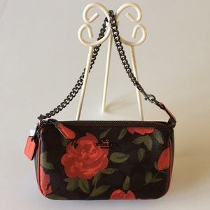 Coach Red Roses Signature Camo Chain Wristlet Bag